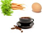 coffee, carrot, egg
